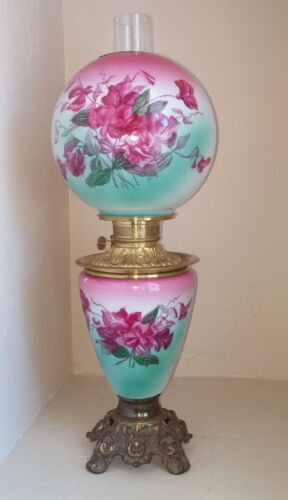 XLNT Antique Fostoria Hand Painted Turquoise & Fuchsia Floral GWTW Oil Lamp