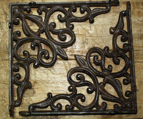 4 LG Cast Iron Antique Style HEART Brackets Garden Braces RUSTIC Shelf Bracket