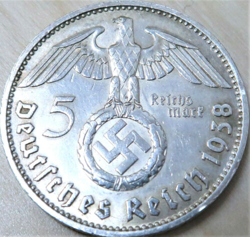 **VINTAGE WW2 SILVER NAZI GERMANY 5 REICHSMARK COIN RARE 100% ORIGINAL**1939 - 1945 (WWII) - 13977