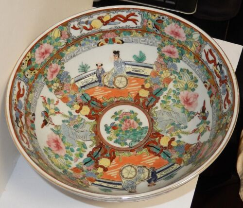 OLD CHINESE HAND PAINTED PEOPLE DESIGN PORCELAIN BOWL SIGNED BY THE MAKER