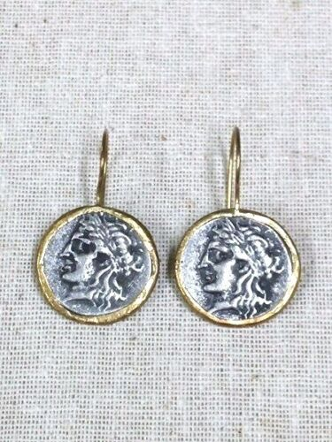 Amazing Ancient Roman Replica Coin Dangle  Earrings Silver P. Brass Holy Land