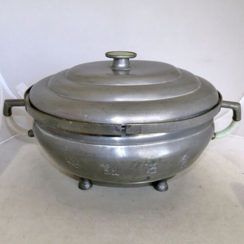 "14.2"" Antique Chinese Pewter Double Chafing Dish w/ Green & White Jadeite Jade"