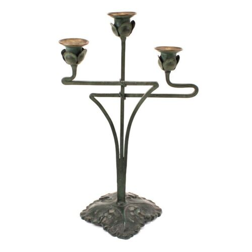Antique Art Nouveau Bronze Candelabra Jugenstil c. 1900