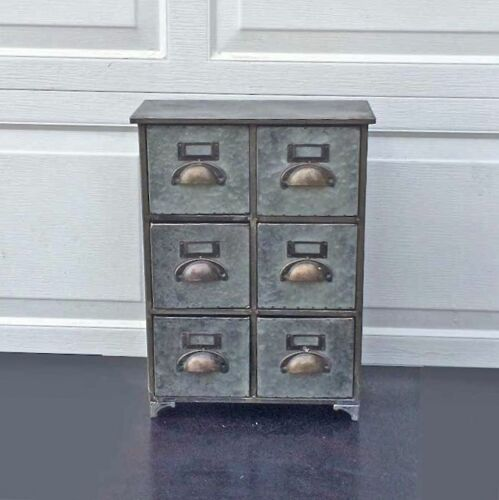 Restoration Style 6 Drawer Tin 19 3/4 High Utility Chest