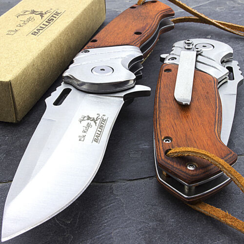 "8.25"" ELK RIDGE WOOD SPRING OPEN ASSISTED FOLDING POCKET KNIFE + LEATHER LANYARD"