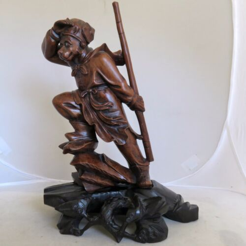 "Vintage ? 11.4"" Chinese Carved Wood Immortal / Monkey God with Staff & Stand"