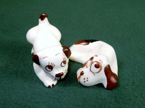 Pair of Porcelain Puppy Figurines ~ Vintage Hand Painted Cartoon Face & Features