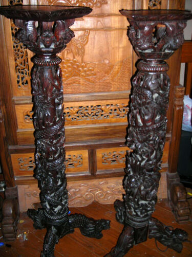 """PAIR CARVED WOOD ANTIQUE QING DYNASTY CHINESE PEDESTAL PLANT STANDS 47"""" MUST C!"""