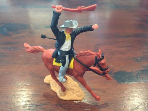 Timpo Cowboy Mounted - Shot By Arrow/ Black & White - Wild West - 1970's