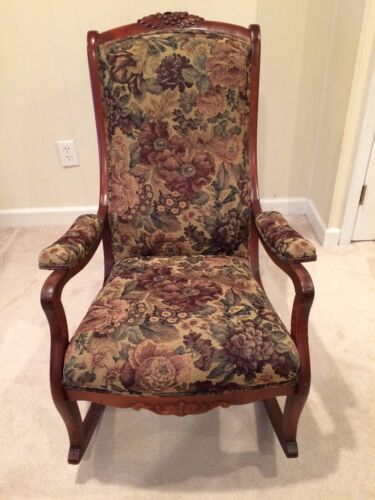 Beautiful Vintage Wood & Tapestry 1930s Rocking Chair