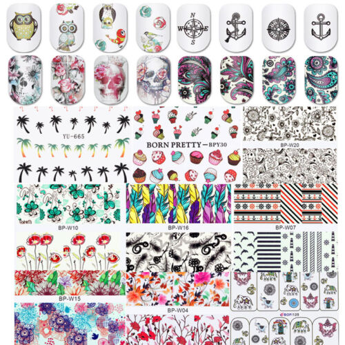 2sheets Nail Water Decal Transfer Manicure Nail Art Stickers DIY Tips Decoration
