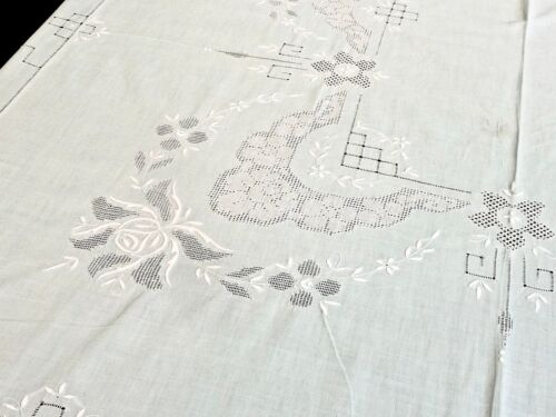 STUNNING ANTIQUE  EMERALD GREEN COTTON HAND EMBROIDERED ROSES TABLECLOTH C 1950'