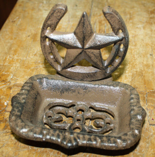 Cast Iron Western Soap Dish Country Cowboy Home Accent BROWN Horseshoe Star