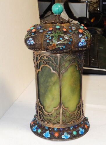 RARE OLD CHINESE SILVER CLOISONNE ENAMEL JADE GEMSTONES CANISTER CADDIE JAR BOX