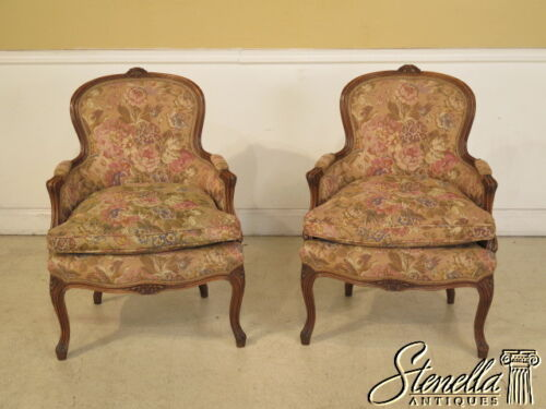 28112E: Pair French Louis XIV Style Tapestry Upholstered Bergere Chairs