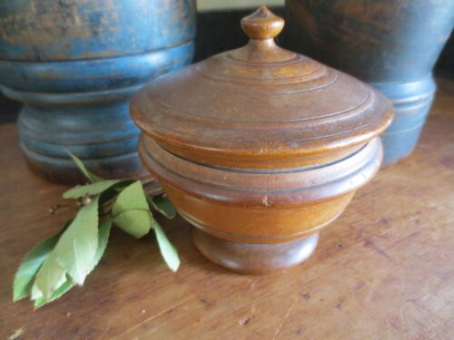 Antique Peaseware, 19th Century Turned Treen Lidded Jar Old Wooden 4.75 in tall