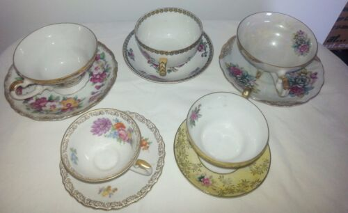 Lot of (5) Vintage, Gorgeous Floral, Fine Bone China Teacups and Saucers