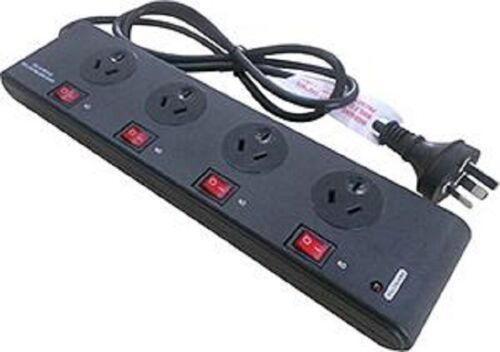Power Board Surge Noise Filter Protector 4 Way Switched Outlet Black Powerboard