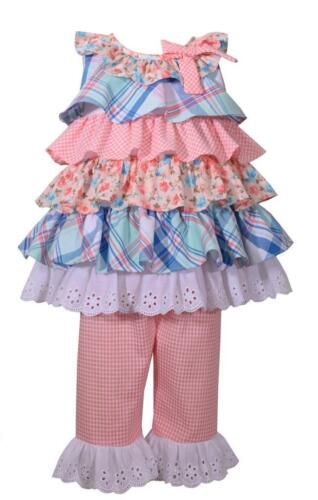 Bonnie Jean Girls Baby 2 Pc Set Tiered Calico Floral Print Top Ruffled Pants New