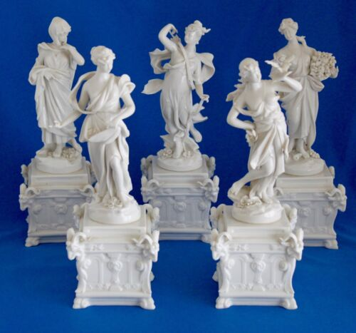 5  19th C. Capodimonte White Porcelain Neo-Classical Figurines Bolted Pedestal