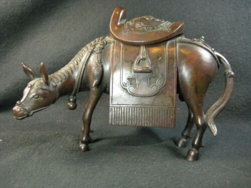 ANTIQUE JAPANESE 200 YEAR OLD EDO ERA BRONZE  HORSE  KORO INCENSE BURNER