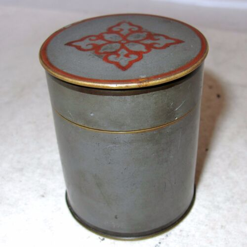 """Small Signed Antique Chinese Pewter & Bronze Teacaddy / Round Box  (2.6"""")"""