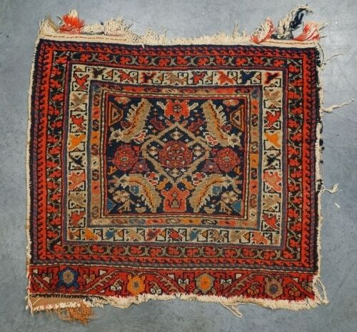 """Antique Early 20c Middle Eastern Handmade Oriental Bag Face Rug 28"""" x 26"""""""