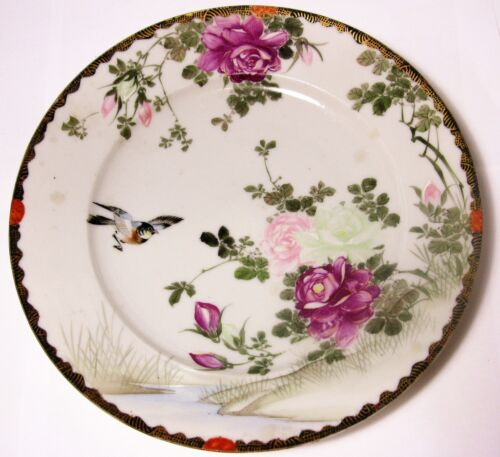 Signed Antique Chinese Hand Painted Porcelain Plate Bowl Dish Bird Swallow Rose