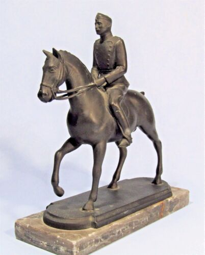 KING CHRISTIAN X OF DENMARK BRONZE SCULPTURE BY GALSTER '41 EQUESTRIAN STATUE