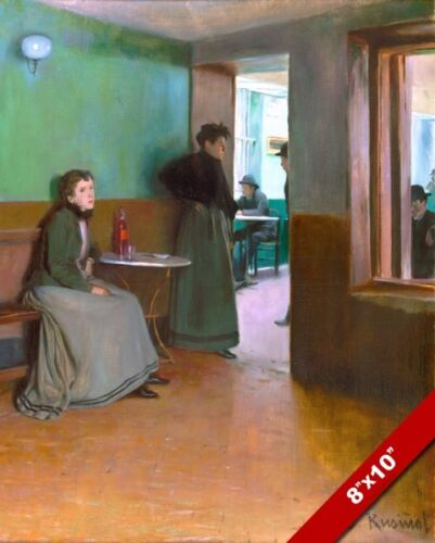LATE 1800'S WOMEN WAITING IN CAFE RESTAURANT PAINTING ART REAL CANVAS PRINT