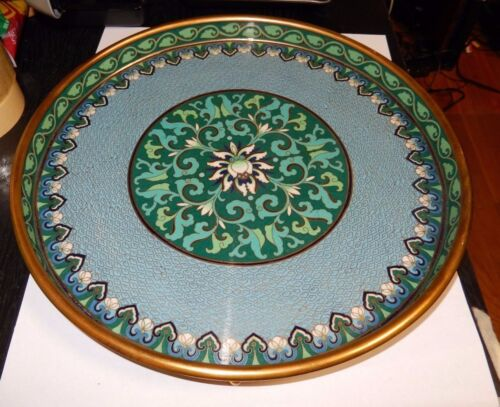 RARE LARGE CHINESE CLOISONNE BLUE GREEN ENAMEL FLORAL PLATE PLATTER FOOTED TRAY