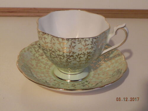 Vintage Cup & saucer;  Green & Gold..Marked Queen Anne