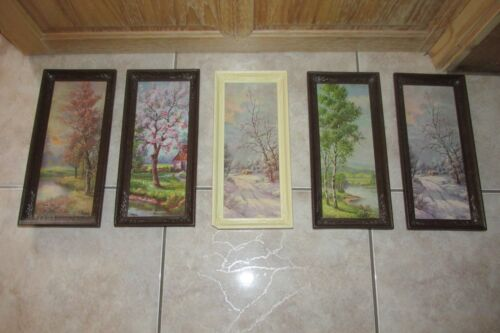 Vtg/Antique Wall Picture Prints by C.Regan~Cabin Lodge Decor ~ Set of 5