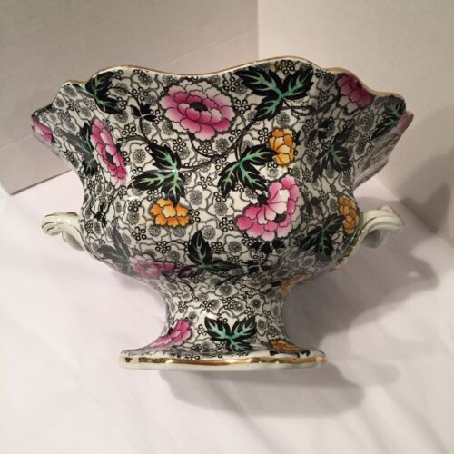 "1930's English Jacobean Chintz ware Footed Compote Bowl Dbl Handles 10""L6""T"