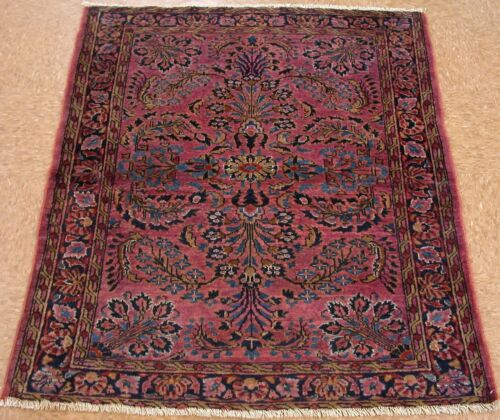 4 x 4 Antique Persian LILIHAN Hand Knotted Wool VICTORIAN RED NAVY Oriental Rug