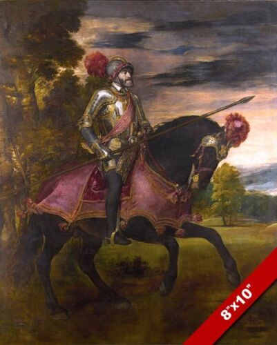 HOLY ROMAN EMPEROR CHARLES V ON HORSE PAINTING HISTORY ART PRINT ON REAL CANVAS