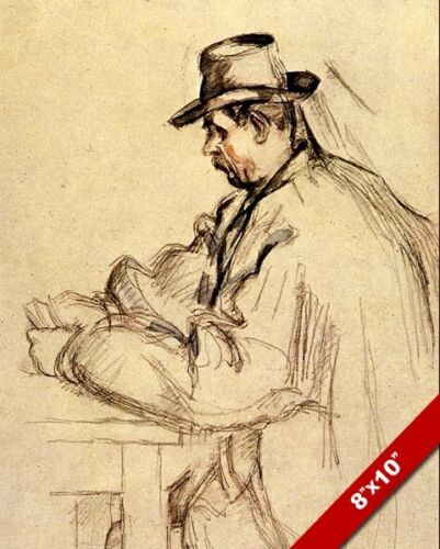 STUDY SKETCH FOR CARD PLAYER MAN PLAYING POKER PAINTING ART REAL CANVAS PRINT