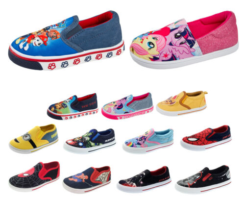 Boys Girls Slip On Character Pumps Summer Shoes Casual Sports Trainers Kids Size