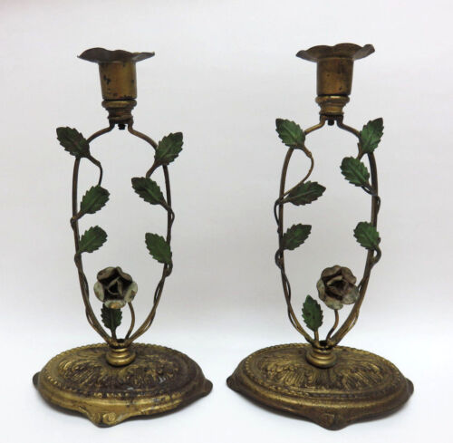 Pair of Antique Gilt Metal Candlesticks / Candle Holders w/ Roses & Leaves