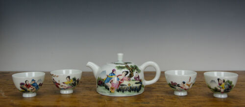 Set of Fine Chinese Famille Rose Enamel Figure Porcelain Teapot and Cup