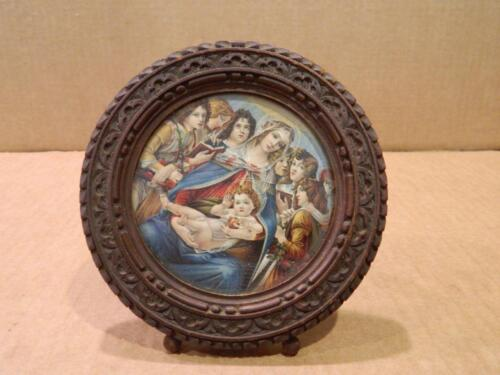 Round Wood Table Top Picture Frame Cut Postcard of Madonna & Child Antique