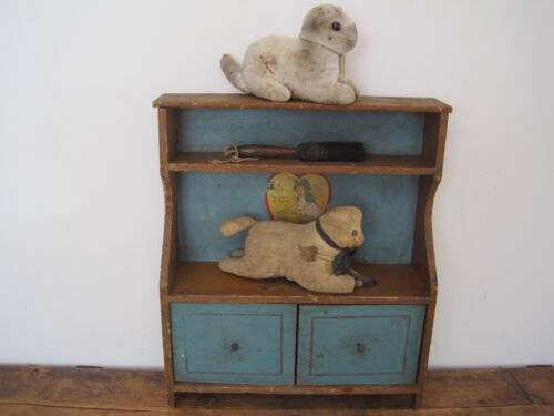 Old Primitive Original Robins Egg Blue Paint Small Doll Cupboard Two Doors AAFA