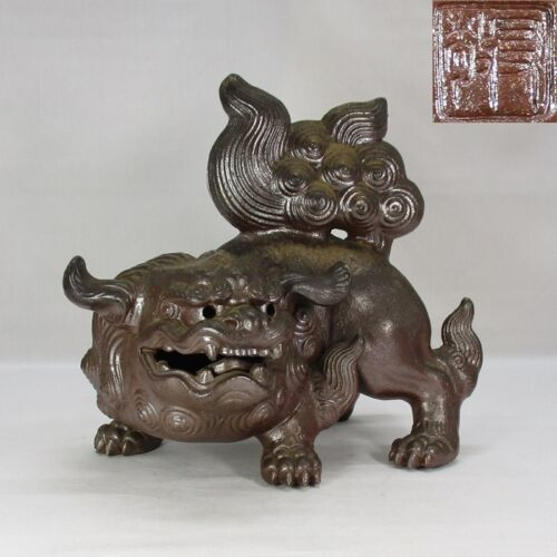 A626: Japanese BIZEN pottery GREAT foo dog statue w/good atmosphere by Yukei. K.