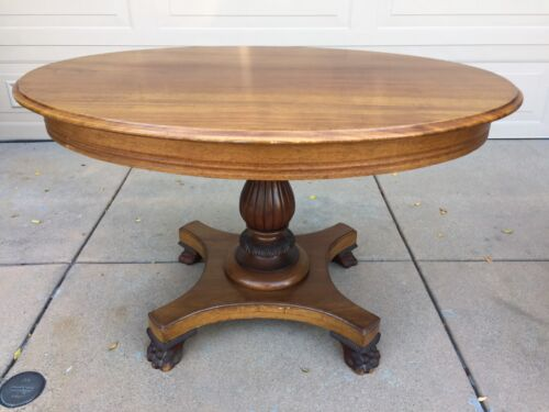 Vintage Victorian Style Solid Oak Wood Claw Footed Oval Dining Table