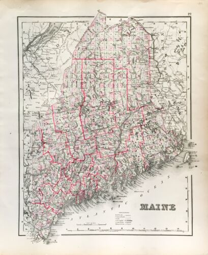 Antique Maine State Map (1855)