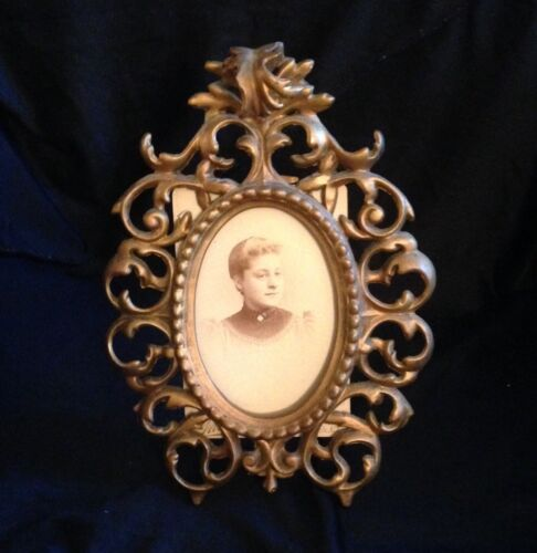 Antique Victorian Gilded Picture Frame Oval Slot Old Photograph Of The Lady