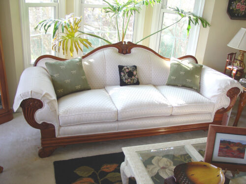 Antique Hand-Carved American Sofa with Eagle and Cornucopias