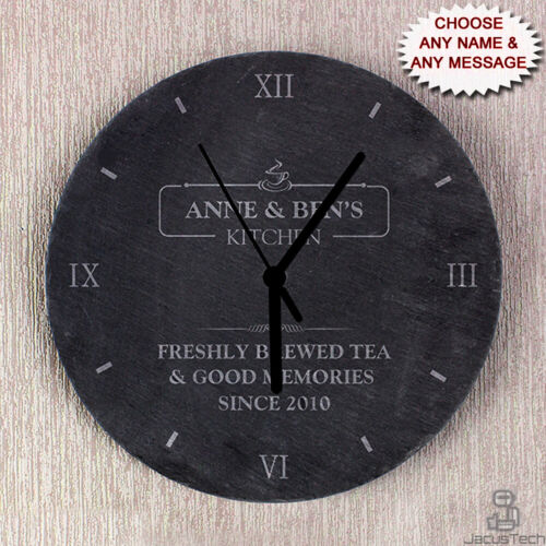 PERSONALISED Kitchen Clock, SLATE. Wedding or Housewarming, New Home Gift Idea