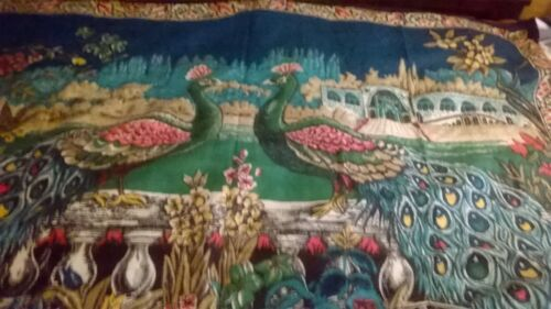 Vintage 1940s Turkish hand made tapestry of two peacocks in a Turkish setting