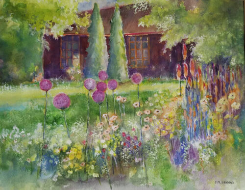 Suzanne Obrand, Holocaust Survivor, Watercolor Painting Cottage in the Woods